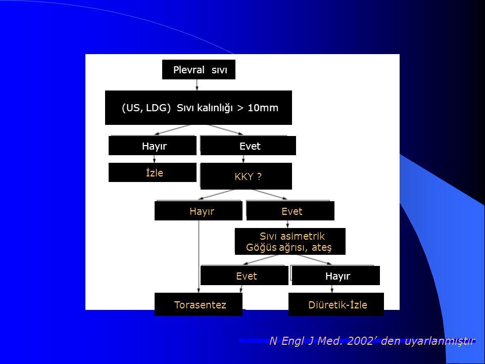 Plevral sıvı (US, LDG) Sıvı kalınlığı > 10mm HayırEvet İzle KKY .