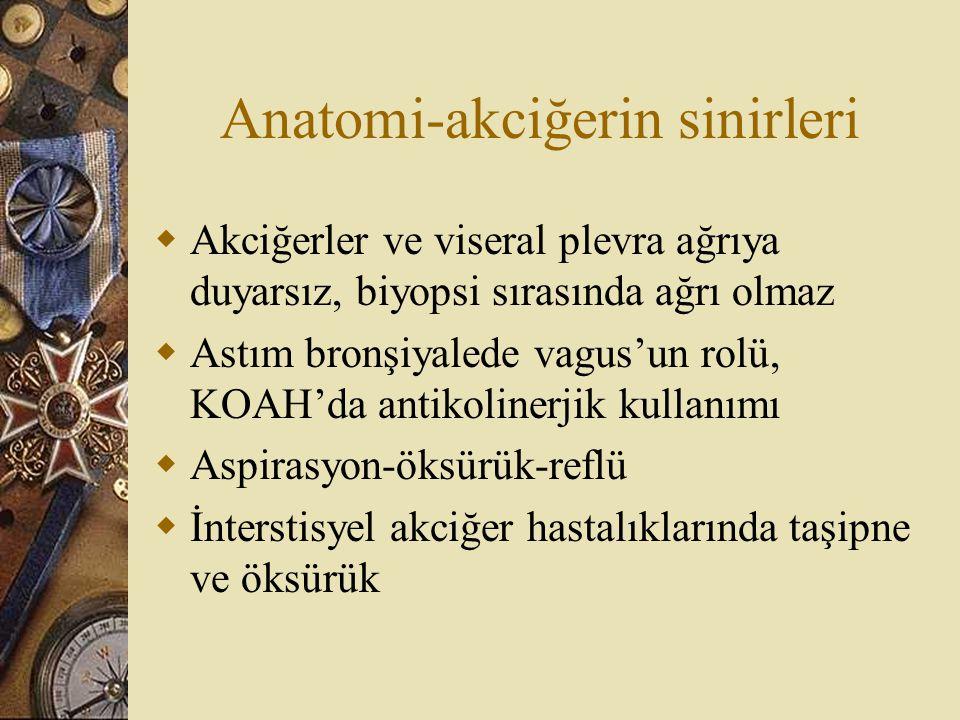 Anatomi-akciğerin sinirleri  Akciğerler ve viseral plevra ağrıya duyarsız, biyopsi sırasında ağrı olmaz  Astım bronşiyalede vagus'un rolü, KOAH'da a