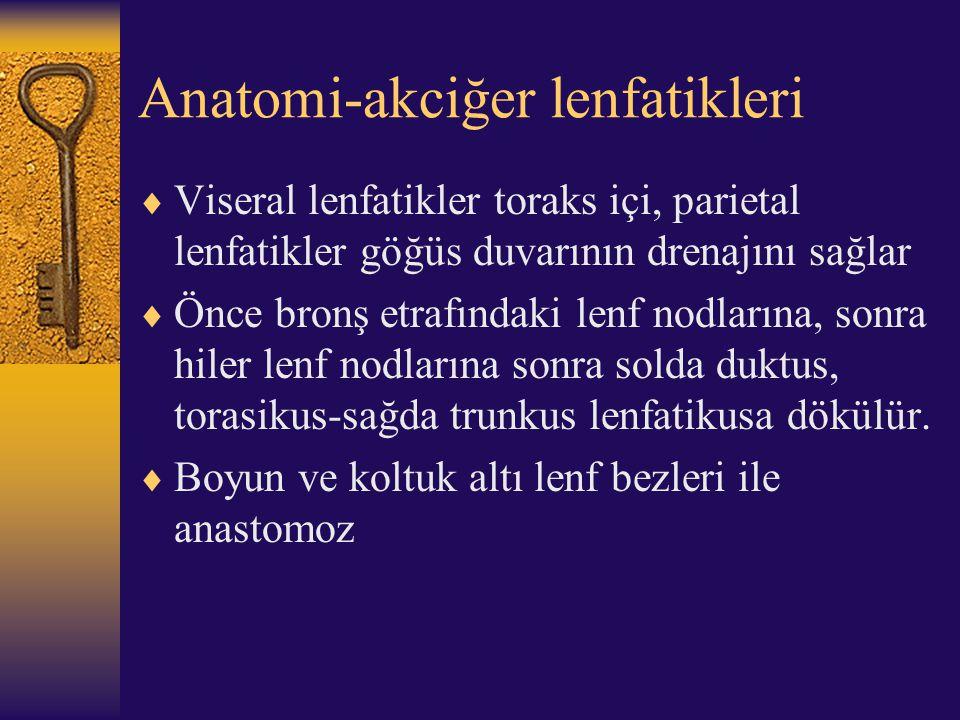 Anatomi-akciğer lenfatikleri  Viseral lenfatikler toraks içi, parietal lenfatikler göğüs duvarının drenajını sağlar  Önce bronş etrafındaki lenf nod