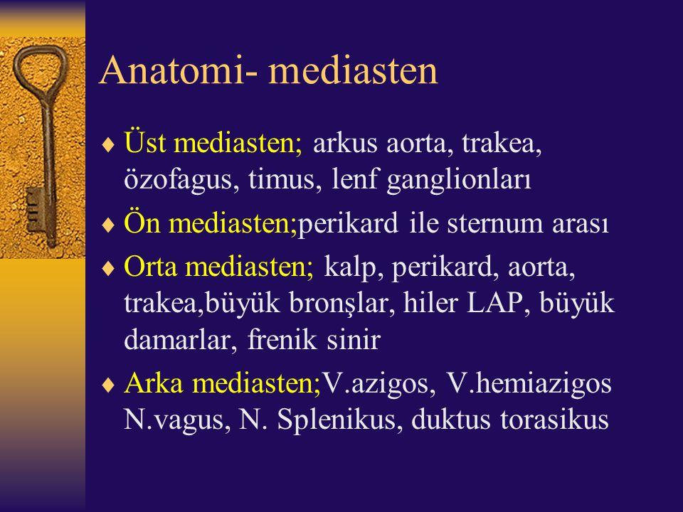Anatomi- mediasten  Üst mediasten; arkus aorta, trakea, özofagus, timus, lenf ganglionları  Ön mediasten;perikard ile sternum arası  Orta mediasten
