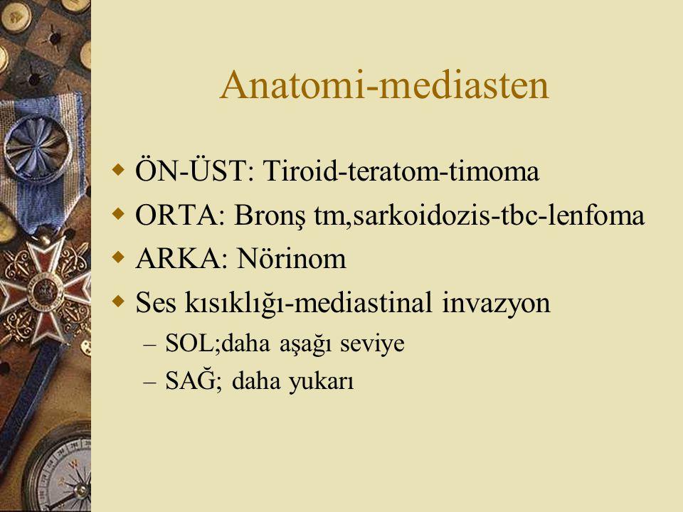 Anatomi-mediasten  ÖN-ÜST: Tiroid-teratom-timoma  ORTA: Bronş tm,sarkoidozis-tbc-lenfoma  ARKA: Nörinom  Ses kısıklığı-mediastinal invazyon – SOL;