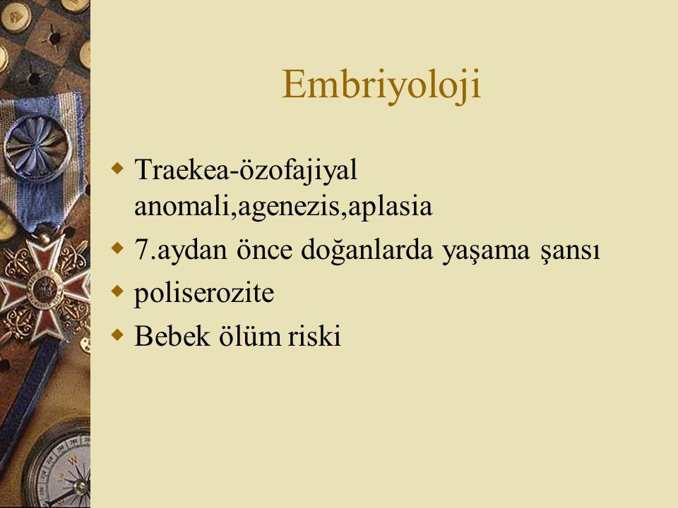 Embriyoloji  Traekea-özofajiyal anomali,agenezis,aplasia  7.aydan önce doğanlarda yaşama şansı  poliserozite  Bebek ölüm riski