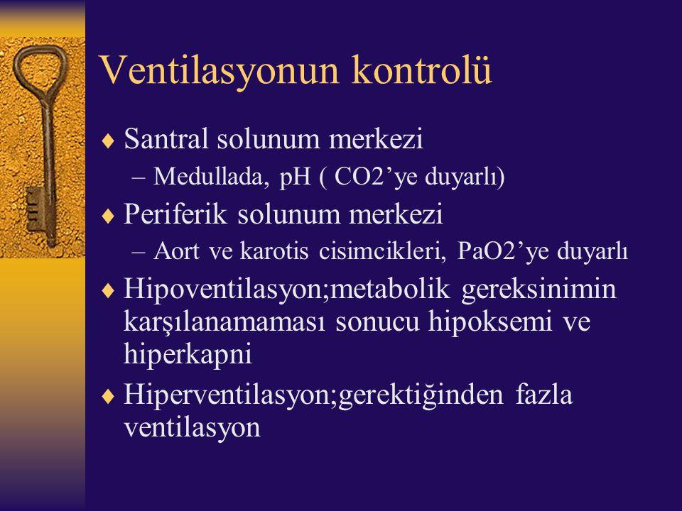 Ventilasyonun kontrolü  Santral solunum merkezi –Medullada, pH ( CO2'ye duyarlı)  Periferik solunum merkezi –Aort ve karotis cisimcikleri, PaO2'ye d