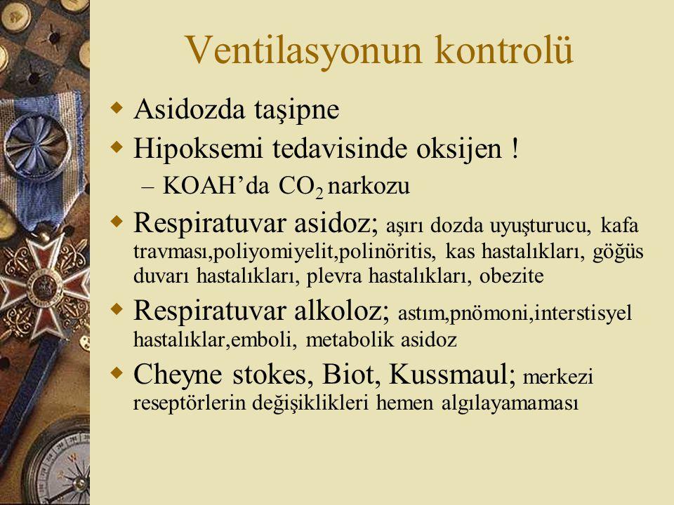 Ventilasyonun kontrolü  Asidozda taşipne  Hipoksemi tedavisinde oksijen ! – KOAH'da CO 2 narkozu  Respiratuvar asidoz; aşırı dozda uyuşturucu, kafa