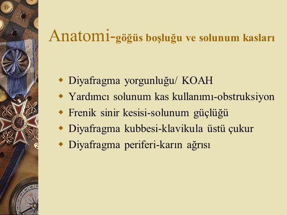 Anatomi- göğüs boşluğu ve solunum kasları  Diyafragma yorgunluğu/ KOAH  Yardımcı solunum kas kullanımı-obstruksiyon  Frenik sinir kesisi-solunum gü