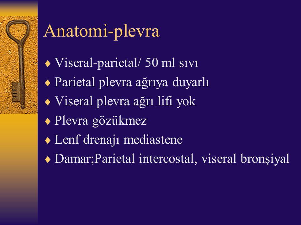 Anatomi-plevra  Viseral-parietal/ 50 ml sıvı  Parietal plevra ağrıya duyarlı  Viseral plevra ağrı lifi yok  Plevra gözükmez  Lenf drenajı mediast