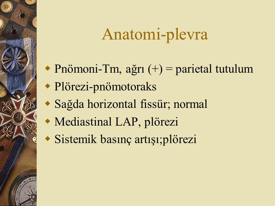 Anatomi-plevra  Pnömoni-Tm, ağrı (+) = parietal tutulum  Plörezi-pnömotoraks  Sağda horizontal fissür; normal  Mediastinal LAP, plörezi  Sistemik