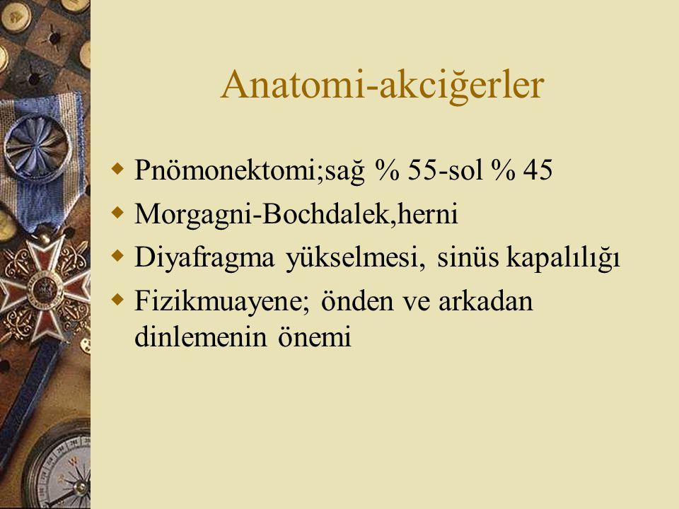 Anatomi-akciğerler  Pnömonektomi;sağ % 55-sol % 45  Morgagni-Bochdalek,herni  Diyafragma yükselmesi, sinüs kapalılığı  Fizikmuayene; önden ve arka