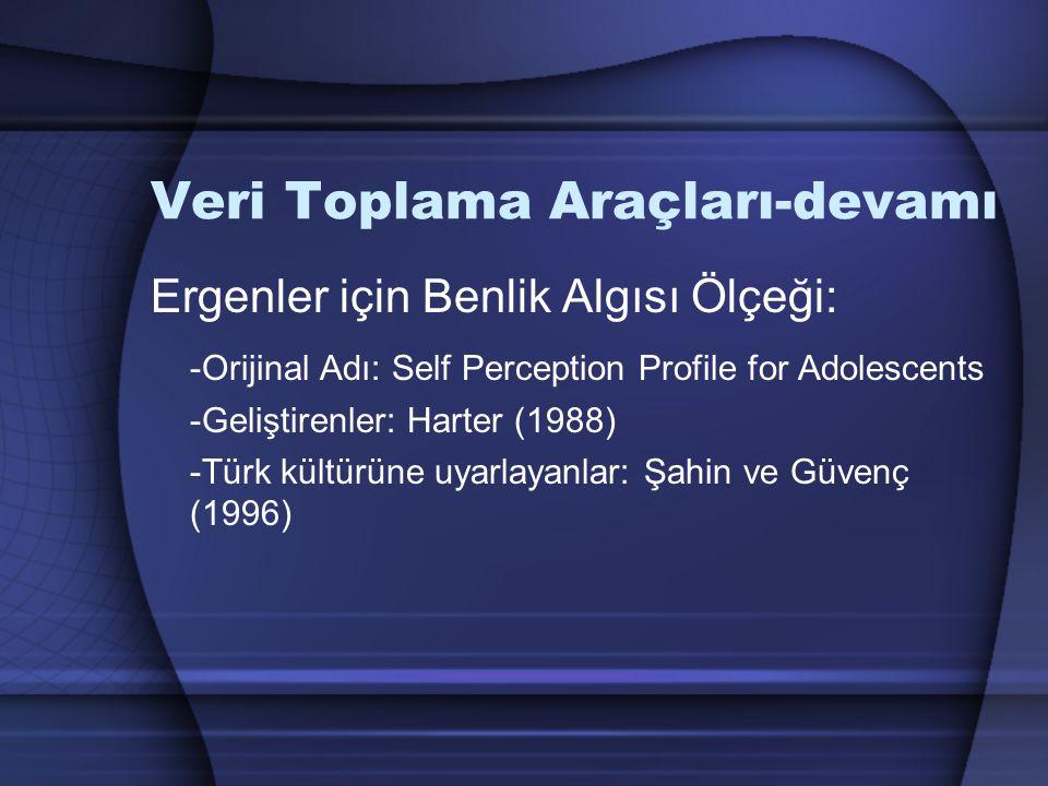 Veri Toplama Araçları-devamı Ergenler için Benlik Algısı Ölçeği: -Orijinal Adı: Self Perception Profile for Adolescents -Geliştirenler: Harter (1988) -Türk kültürüne uyarlayanlar: Şahin ve Güvenç (1996)