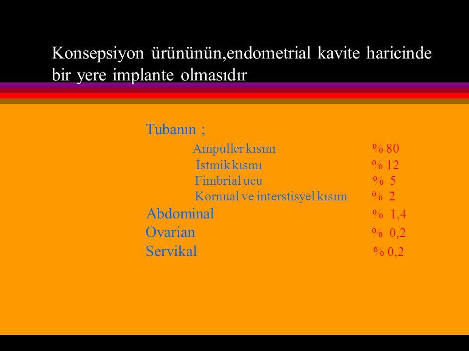 Konsepsiyon ürününün,endometrial kavite haricinde bir yere implante olmasıdır Tubanın ; Ampuller kısmı % 80 İstmik kısmı % 12 Fimbrial ucu % 5 Kornual