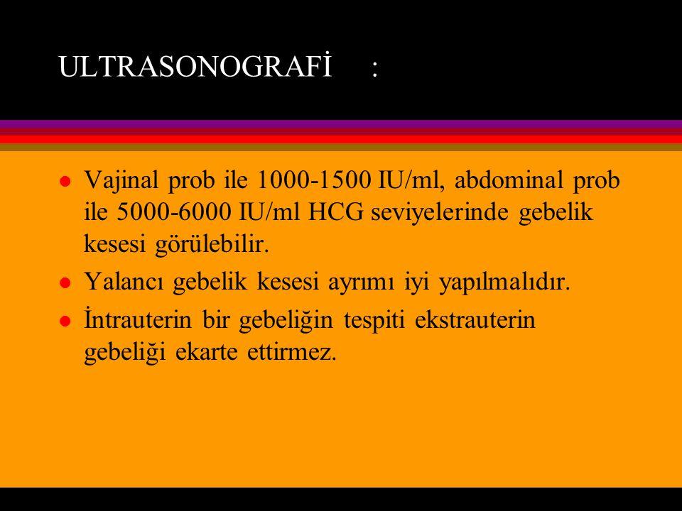 ULTRASONOGRAFİ : l Vajinal prob ile 1000-1500 IU/ml, abdominal prob ile 5000-6000 IU/ml HCG seviyelerinde gebelik kesesi görülebilir. l Yalancı gebeli