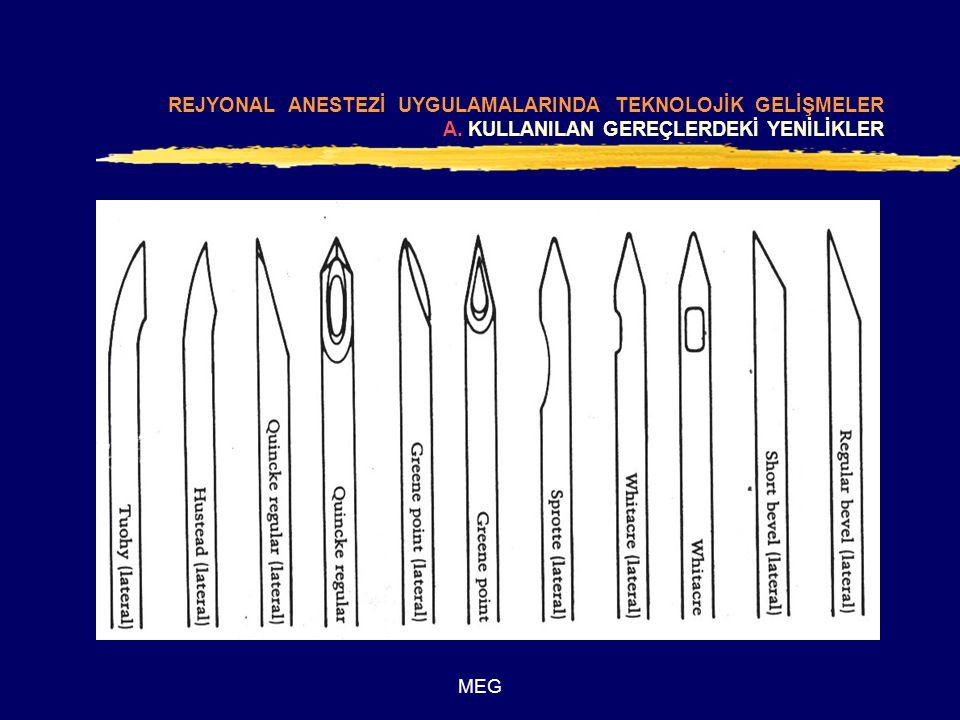 MEG REJYONAL ANESTEZİ UYGULAMALARINDA TEKNOLOJİK GELİŞMELER C.