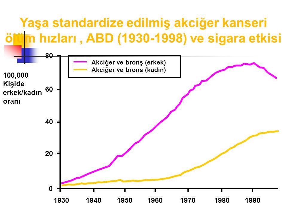 Yaşa standardize edilmiş akciğer kanseri ölüm hızları, ABD (1930-1998) ve sigara etkisi 80 60 40 20 0 1930194019501960197019801990 100,000 Kişide erkek/kadın oranı Akciğer ve bronş (erkek) Akciğer ve bronş (kadın)