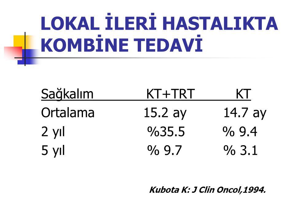 LOKAL İLERİ HASTALIKTA KOMBİNE TEDAVİ Sağkalım KT+TRT KT Ortalama 15.2 ay 14.7 ay 2 yıl %35.5 % 9.4 5 yıl % 9.7 % 3.1 Kubota K: J Clin Oncol,1994.