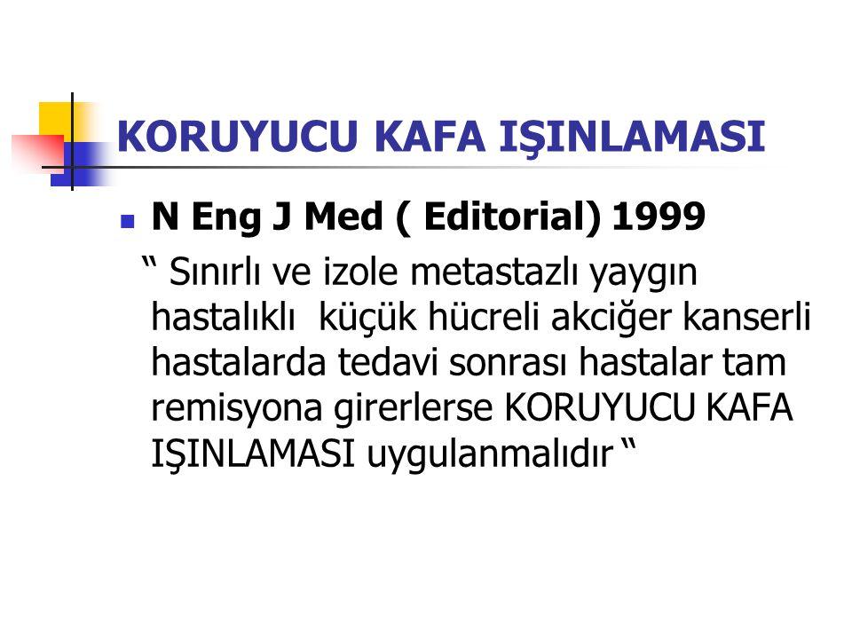 KORUYUCU KAFA IŞINLAMASI N Eng J Med ( Editorial) 1999 Sınırlı ve izole metastazlı yaygın hastalıklı küçük hücreli akciğer kanserli hastalarda tedavi sonrası hastalar tam remisyona girerlerse KORUYUCU KAFA IŞINLAMASI uygulanmalıdır