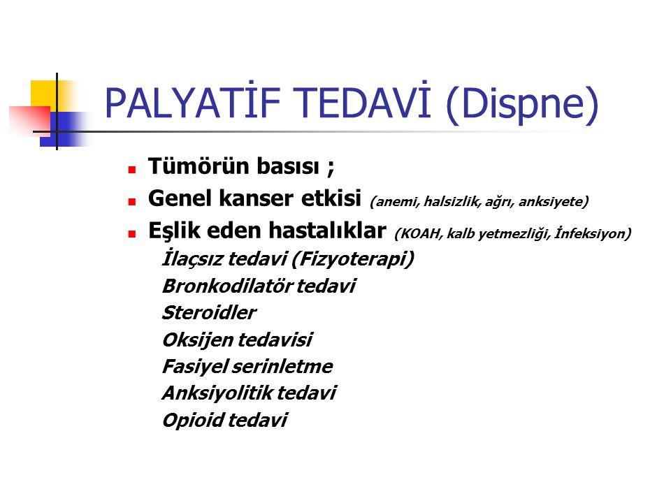 PALYATİF TEDAVİ (Dispne) Tümörün basısı ; Genel kanser etkisi (anemi, halsizlik, ağrı, anksiyete) Eşlik eden hastalıklar (KOAH, kalb yetmezliği, İnfeksiyon) İlaçsız tedavi (Fizyoterapi) Bronkodilatör tedavi Steroidler Oksijen tedavisi Fasiyel serinletme Anksiyolitik tedavi Opioid tedavi