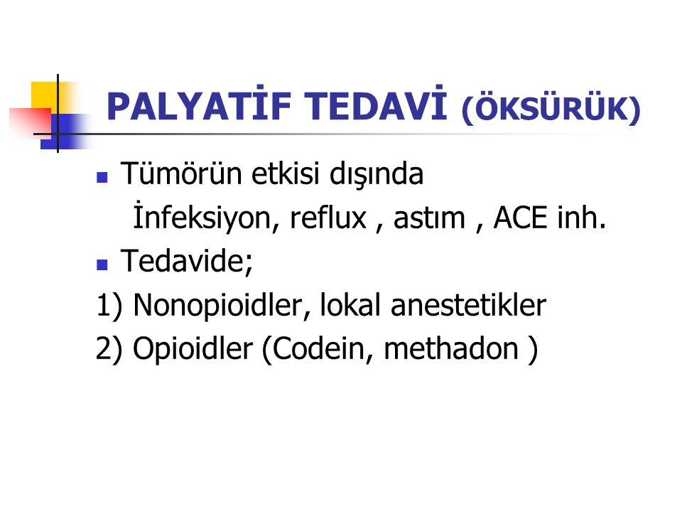 PALYATİF TEDAVİ (ÖKSÜRÜK) Tümörün etkisi dışında İnfeksiyon, reflux, astım, ACE inh.