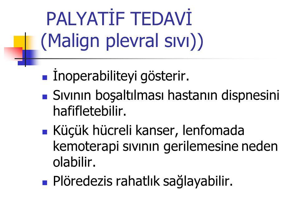 PALYATİF TEDAVİ (Malign plevral sıvı)) İnoperabiliteyi gösterir.