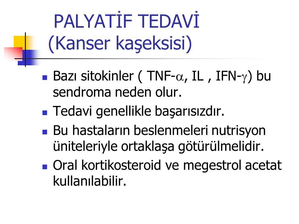 PALYATİF TEDAVİ (Kanser kaşeksisi) Bazı sitokinler ( TNF- , IL, IFN-  ) bu sendroma neden olur.