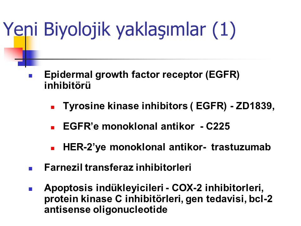 Yeni Biyolojik yaklaşımlar (1) Epidermal growth factor receptor (EGFR) inhibitörü Tyrosine kinase inhibitors ( EGFR) - ZD1839, EGFR'e monoklonal antikor - C225 HER-2'ye monoklonal antikor- trastuzumab Farnezil transferaz inhibitorleri Apoptosis indükleyicileri - COX-2 inhibitorleri, protein kinase C inhibitörleri, gen tedavisi, bcl-2 antisense oligonucleotide