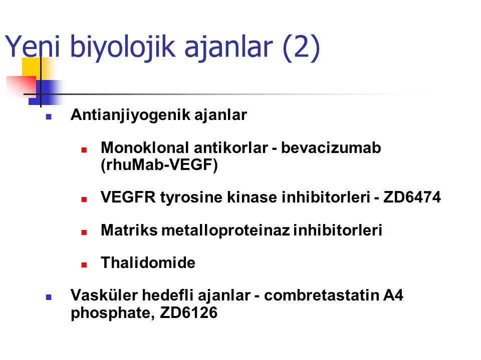 Yeni biyolojik ajanlar (2) Antianjiyogenik ajanlar Monoklonal antikorlar - bevacizumab (rhuMab-VEGF) VEGFR tyrosine kinase inhibitorleri - ZD6474 Matriks metalloproteinaz inhibitorleri Thalidomide Vasküler hedefli ajanlar - combretastatin A4 phosphate, ZD6126