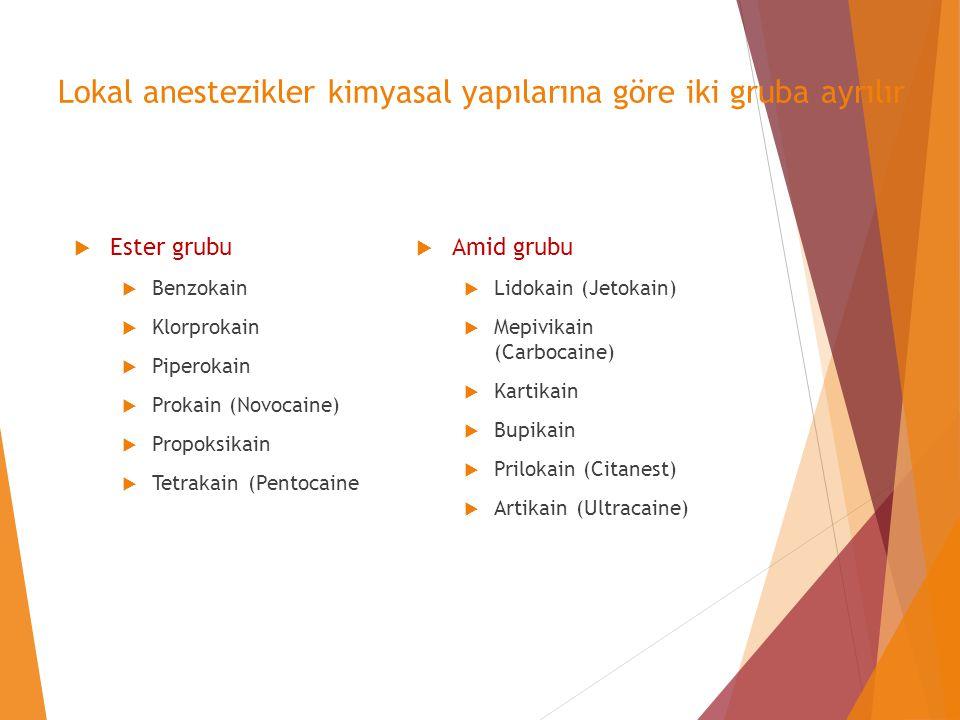 Lokal anestezikler kimyasal yapılarına göre iki gruba ayrılır  Ester grubu  Benzokain  Klorprokain  Piperokain  Prokain (Novocaine)  Propoksikai