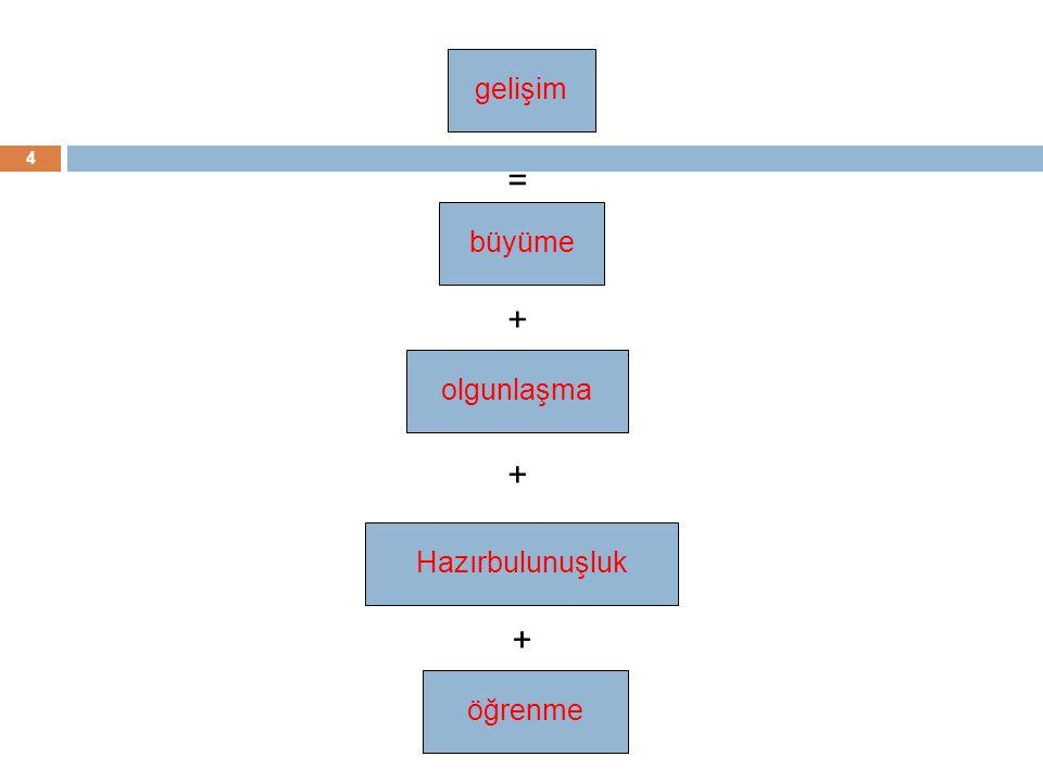 4 gelişimbüyümeolgunlaşmaöğrenme = + + Hazırbulunuşluk +