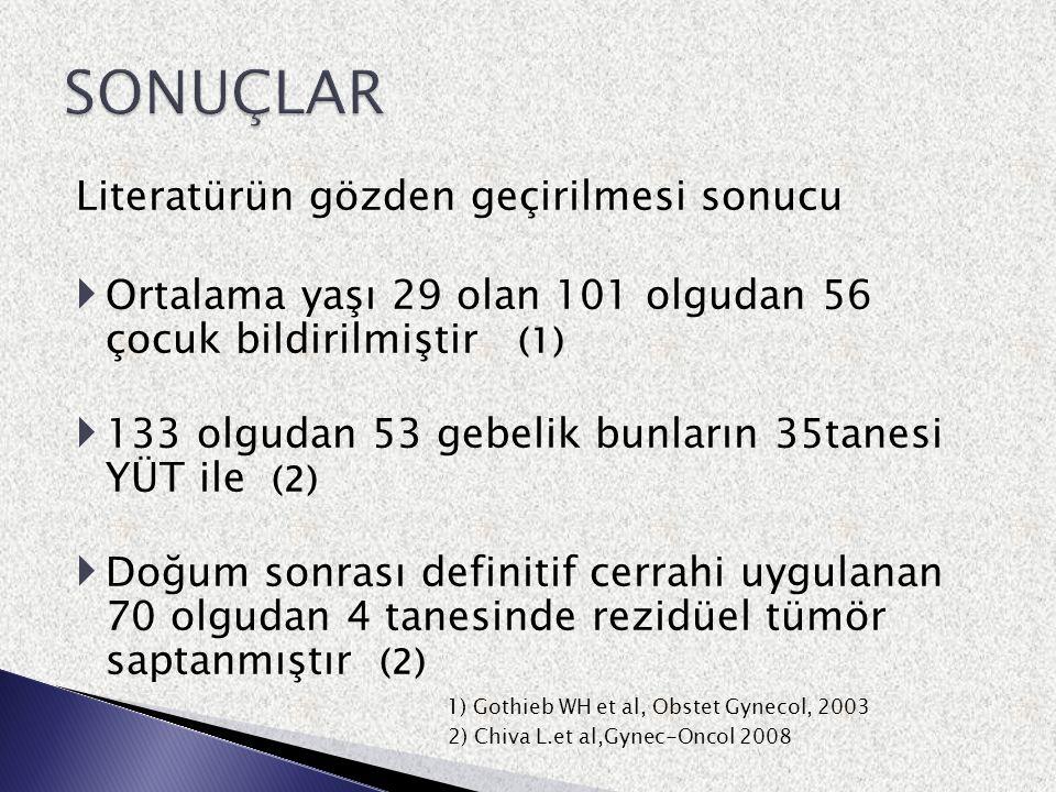 Literatürün gözden geçirilmesi sonucu  Ortalama yaşı 29 olan 101 olgudan 56 çocuk bildirilmiştir (1)  133 olgudan 53 gebelik bunların 35tanesi YÜT i