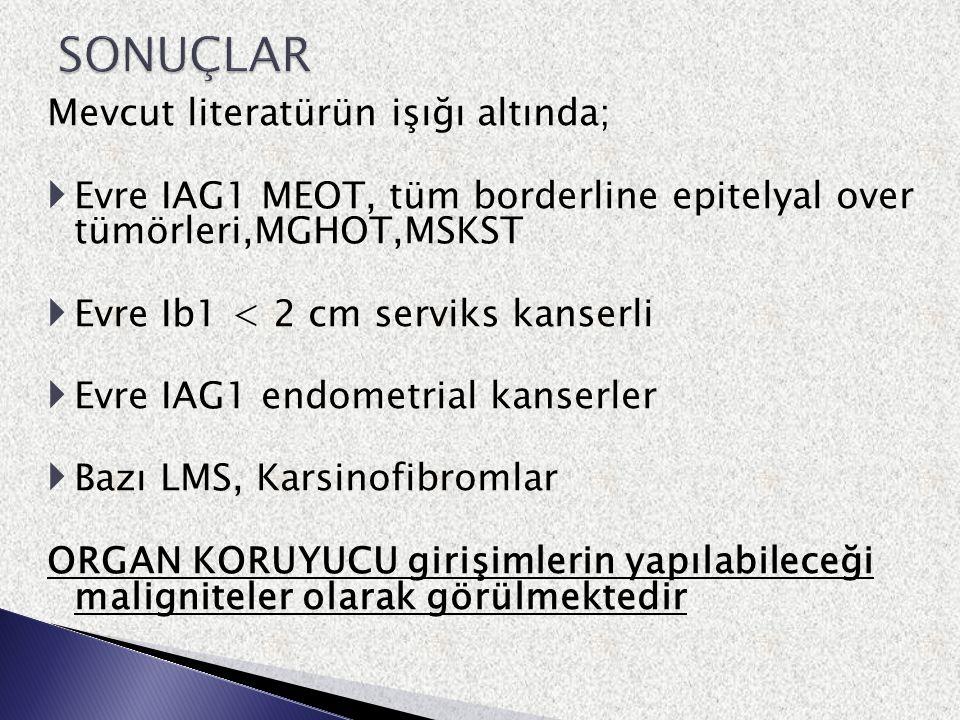 Mevcut literatürün işığı altında;  Evre IAG1 MEOT, tüm borderline epitelyal over tümörleri,MGHOT,MSKST  Evre Ib1 < 2 cm serviks kanserli  Evre IAG1