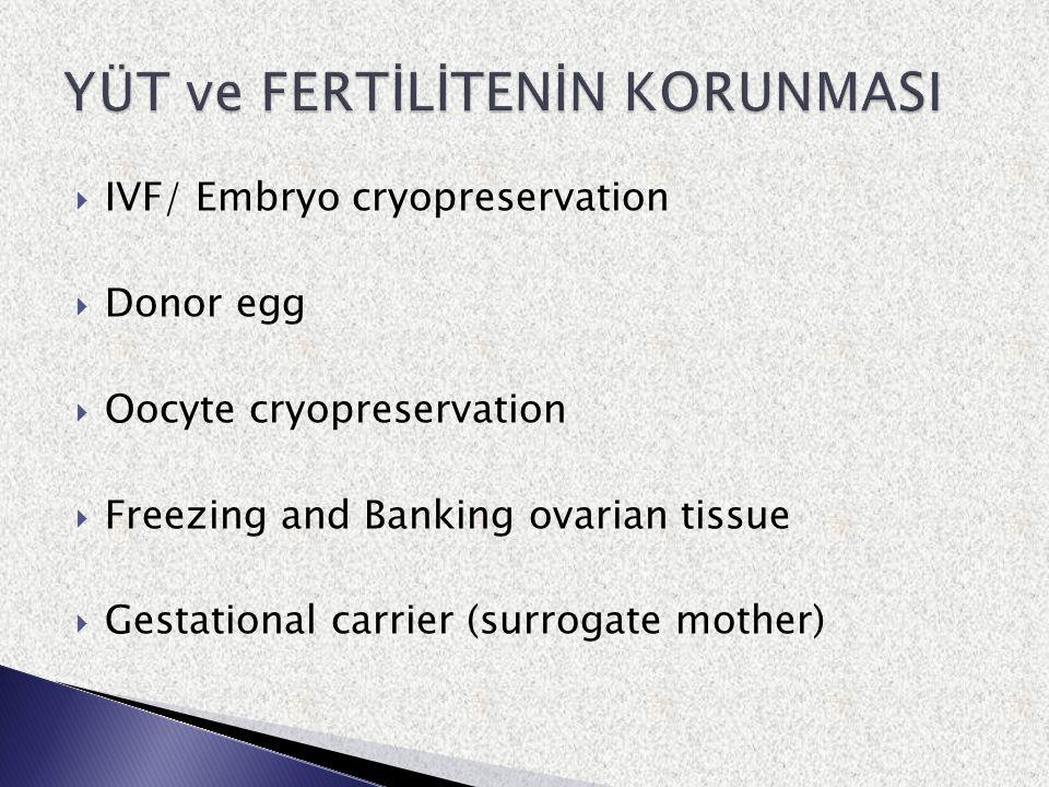  Yaşam kalitesi koşulları ile ilişkili olarak genital kanserli bazı kadınlarda fertilitenin korunması gerekmektedir  Uygulanacak yaklaşımlar onkoloji emniyeti sınırları içinde olmalıdır  Genital kanserlerin biyolojik davranışlarının kişiye özgü ve hastalığa özel kondisyonları daha iyi anlaşıldıkça uygulama alanı genişleyecektir