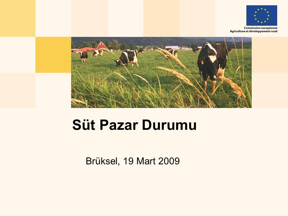 Market Situation, 19 March 200912 Peynir/Peyniraltı Suyu Tozu, Yağsız Süttozu/Tereyağı ve Tam Yağlı Süttozu/Tereyağı Üretimlerinden AB'nin Geliri