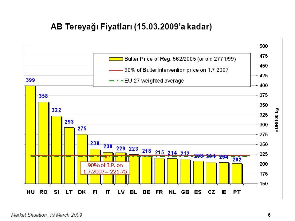 Market Situation, 19 March 200917 Çedar Peynirinin AB/ABD/Okyanusya Kotasyonları ABD Doları/ton
