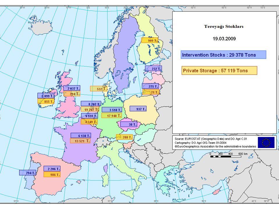 Market Situation, 19 March 200918 AB İhracatları – Ocak 2008 ile Ocak 2009 karşılaştırması (Almanya mevcut değildir) AB'nin Üçüncü Ülkelere Süt Ürünleri İhracatı Bin ton