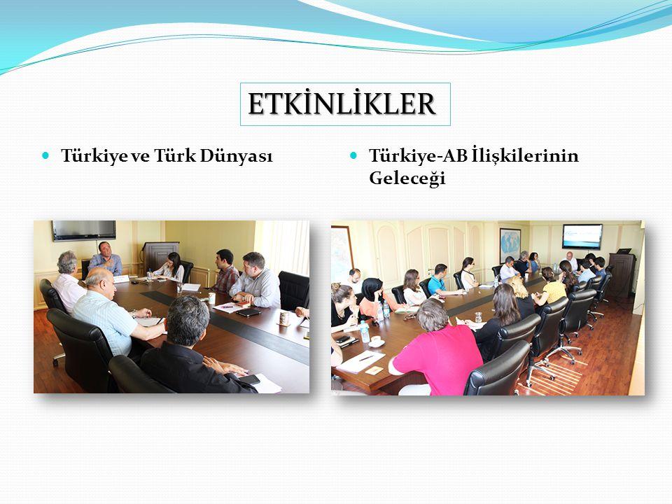 ETKİNLİKLER Türkiye ve Türk Dünyası Türkiye-AB İlişkilerinin Geleceği