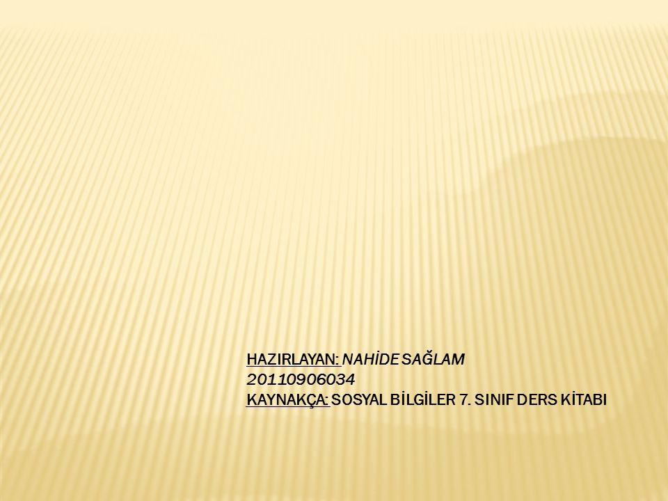 HAZIRLAYAN: NAHİDE SAĞLAM 20110906034 KAYNAKÇA: SOSYAL BİLGİLER 7. SINIF DERS KİTABI