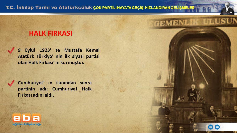 T.C. İnkılap Tarihi ve Atatürkçülük ÇOK PARTİLİ HAYATA GEÇİŞİ HIZLANDIRAN GELİŞMELER 3 HALK FIRKASI 9 Eylül 1923' te Mustafa Kemal Atatürk Türkiye' ni