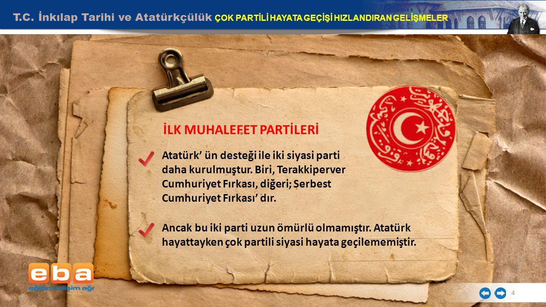 T.C. İnkılap Tarihi ve Atatürkçülük ÇOK PARTİLİ HAYATA GEÇİŞİ HIZLANDIRAN GELİŞMELER 4 İLK MUHALEFET PARTİLERİ Atatürk' ün desteği ile iki siyasi part