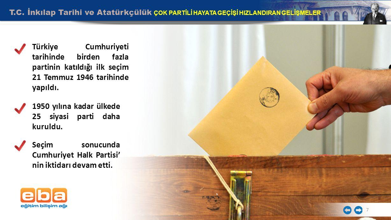 T.C. İnkılap Tarihi ve Atatürkçülük ÇOK PARTİLİ HAYATA GEÇİŞİ HIZLANDIRAN GELİŞMELER 7 Türkiye Cumhuriyeti tarihinde birden fazla partinin katıldığı i