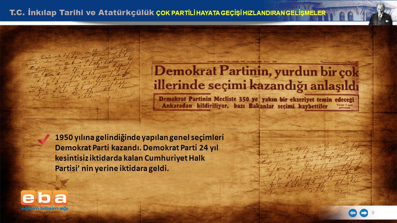 T.C. İnkılap Tarihi ve Atatürkçülük ÇOK PARTİLİ HAYATA GEÇİŞİ HIZLANDIRAN GELİŞMELER 9 1950 yılına gelindiğinde yapılan genel seçimleri Demokrat Parti