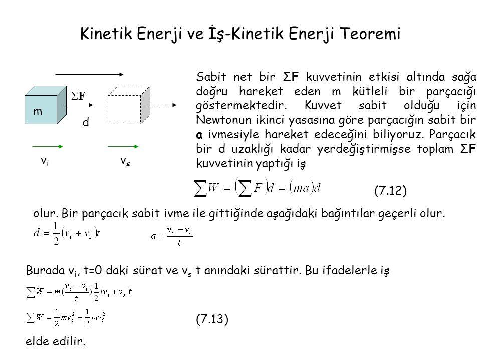 Kinetik Enerji ve İş-Kinetik Enerji Teoremi m d vivi vsvs ΣFΣF Sabit net bir ΣF kuvvetinin etkisi altında sağa doğru hareket eden m kütleli bir parçacığı göstermektedir.