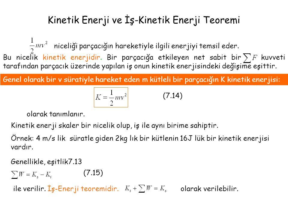 Kinetik Enerji ve İş-Kinetik Enerji Teoremi niceliği parçacığın hareketiyle ilgili enerjiyi temsil eder. Bu nicelik kinetik enerjidir. Bir parçacığa e