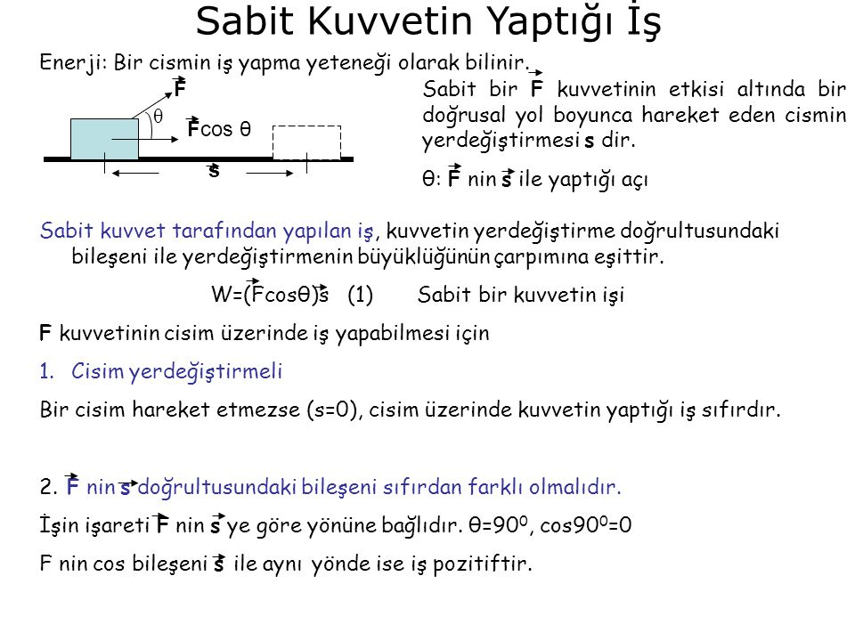 Sabit Kuvvetin Yaptığı İş θ Fcos θ F s Sabit bir F kuvvetinin etkisi altında bir doğrusal yol boyunca hareket eden cismin yerdeğiştirmesi s dir.