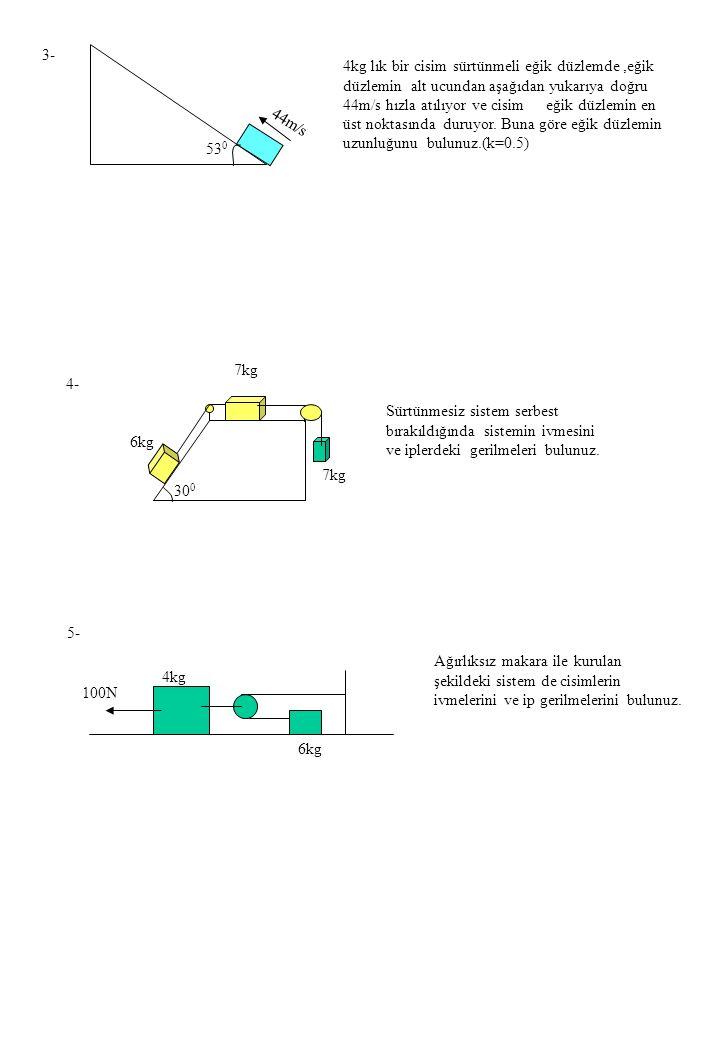3- 4- 53 0 4kg lık bir cisim sürtünmeli eğik düzlemde,eğik düzlemin alt ucundan aşağıdan yukarıya doğru 44m/s hızla atılıyor ve cisim eğik düzlemin en üst noktasında duruyor.
