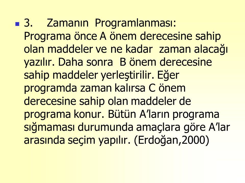 3. Zamanın Programlanması: Programa önce A önem derecesine sahip olan maddeler ve ne kadar zaman alacağı yazılır. Daha sonra B önem derecesine sahip m