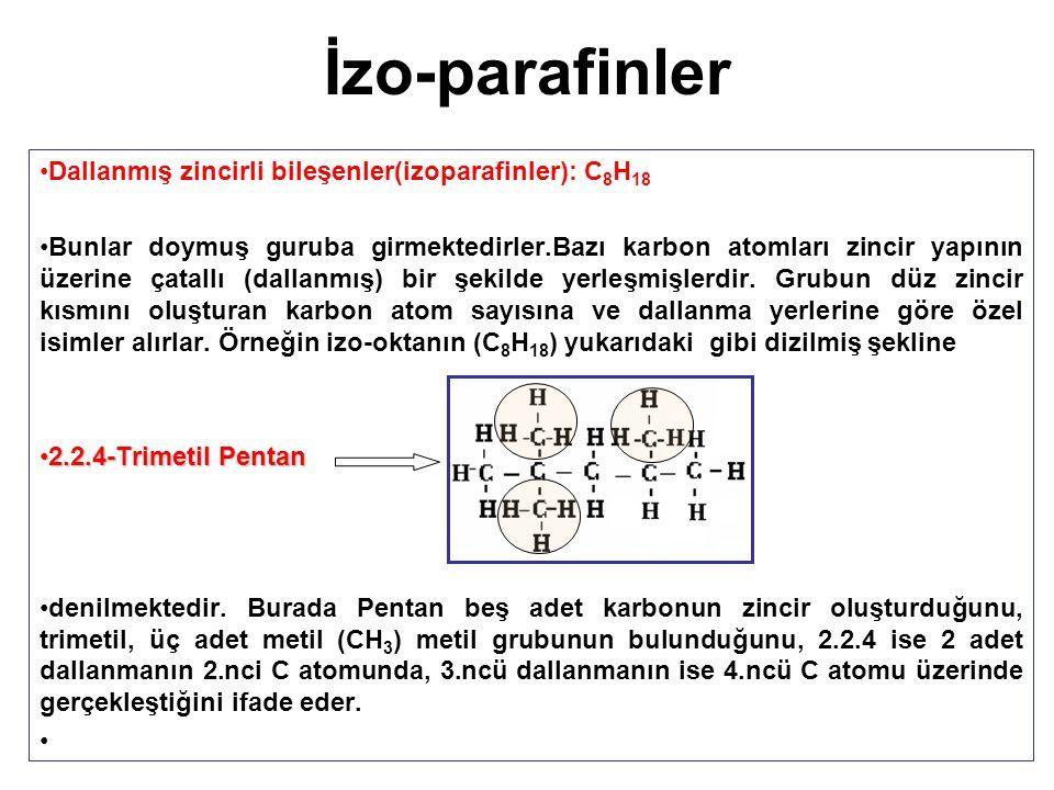 İzo-parafinler Dallanmış zincirli bileşenler(izoparafinler): C 8 H 18 Bunlar doymuş guruba girmektedirler.Bazı karbon atomları zincir yapının üzerine