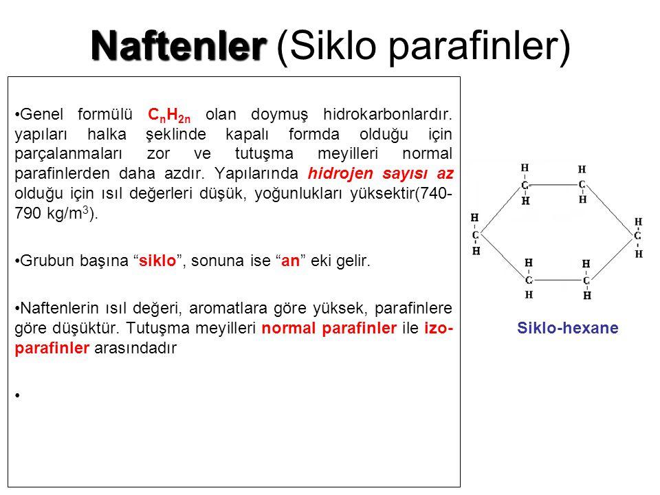 Naftenler Naftenler (Siklo parafinler) Genel formülü C n H 2n olan doymuş hidrokarbonlardır. yapıları halka şeklinde kapalı formda olduğu için parçala
