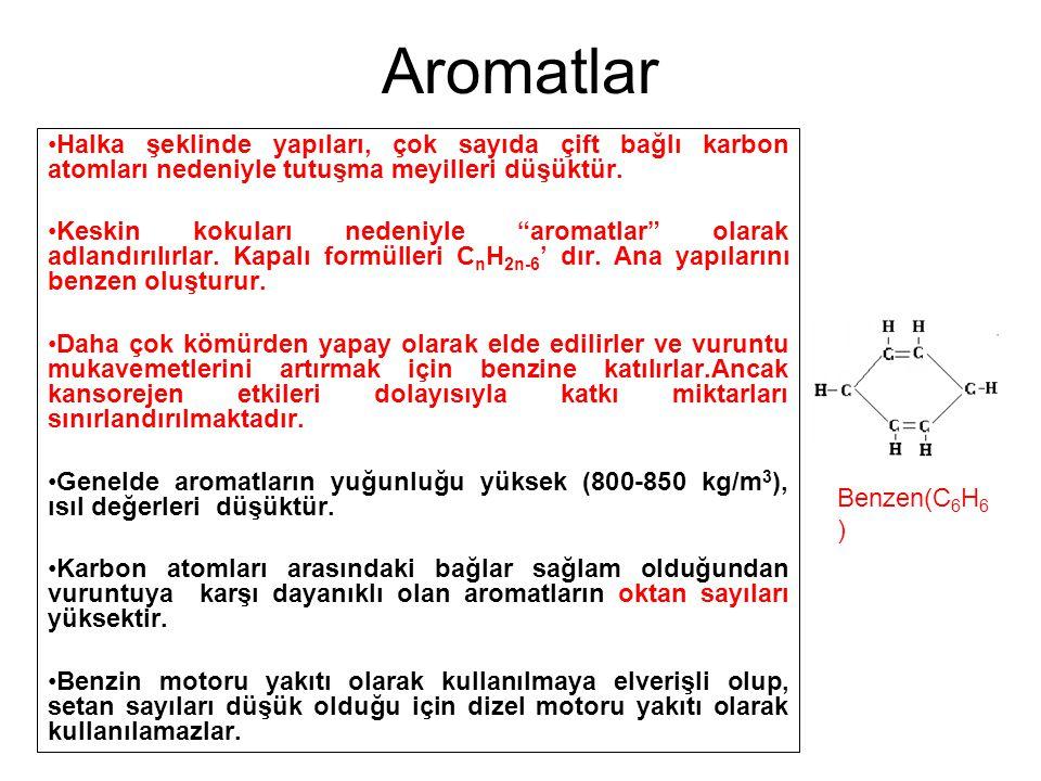 """Aromatlar Halka şeklinde yapıları, çok sayıda çift bağlı karbon atomları nedeniyle tutuşma meyilleri düşüktür. Keskin kokuları nedeniyle """"aromatlar"""" o"""