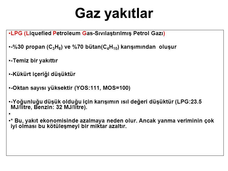 Gaz yakıtlar LPG (Liquefied Petroleum Gas-Sıvılaştırılmış Petrol Gazı) -%30 propan (C 3 H 8 ) ve %70 bütan(C 4 H 10 ) karışımından oluşur -Temiz bir y