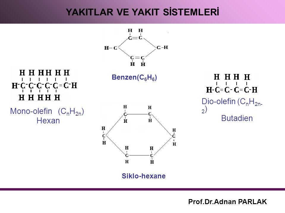 YAKITLAR VE YAKIT SİSTEMLERİ Prof.Dr.Adnan PARLAK Siklo-hexane Benzen(C 6 H 6 ) Mono-olefin (C n H 2n ) Hexan Dio-olefin (C n H 2n- 2 ) Butadien