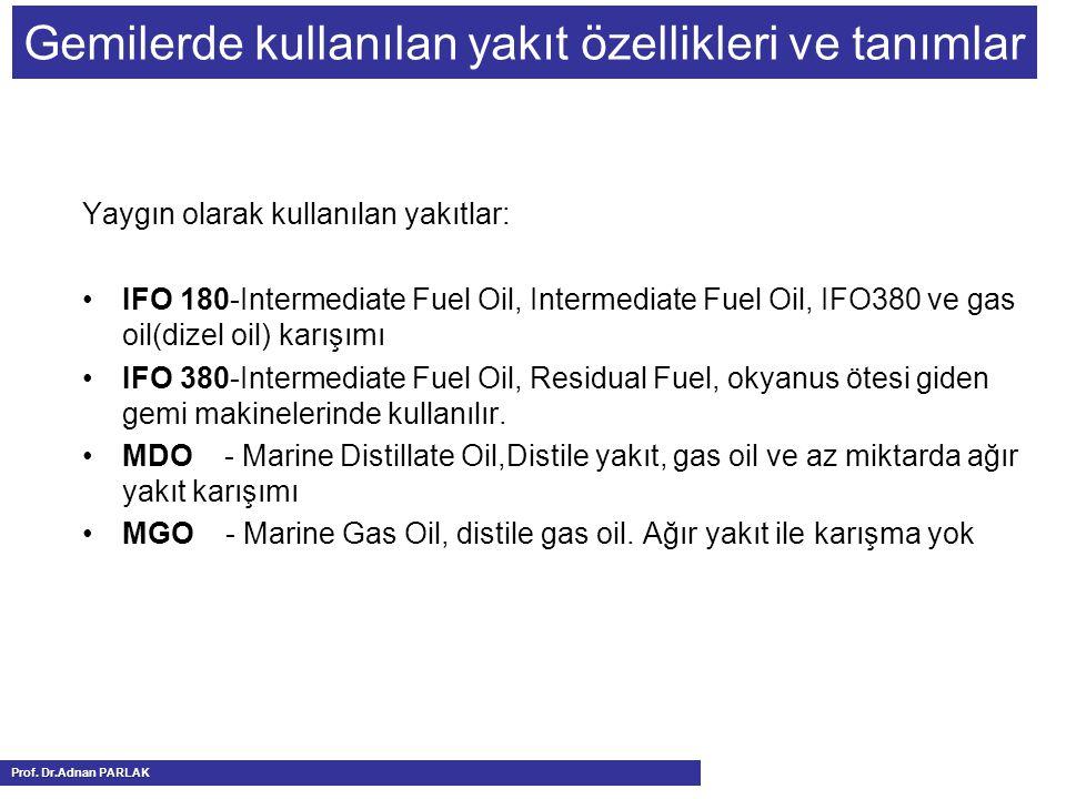 Gemilerde kullanılan yakıt özellikleri ve tanımlar Yaygın olarak kullanılan yakıtlar: IFO 180-Intermediate Fuel Oil, Intermediate Fuel Oil, IFO380 ve gas oil(dizel oil) karışımı IFO 380-Intermediate Fuel Oil, Residual Fuel, okyanus ötesi giden gemi makinelerinde kullanılır.